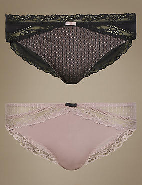 2 Pack Textured Brazilian Knickers