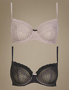 2 Pack Textured Full Cup Non Padded Bras