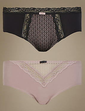 2 Pack Textured Short Knickers