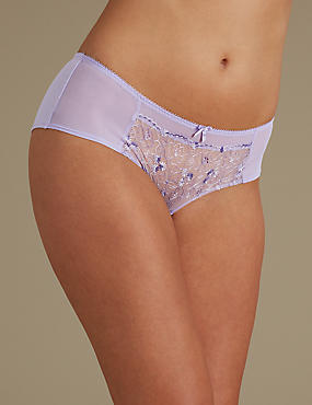 2 Pack Embroidered Low Rise Shorts, PURPLE MIX, catlanding