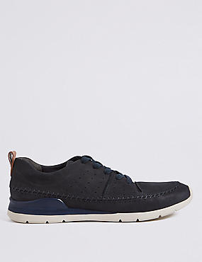 Leather Stitch Detail Lace-up Trainers