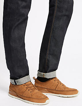 Leather Stitch Detail Lace-up Trainers, TAN, catlanding