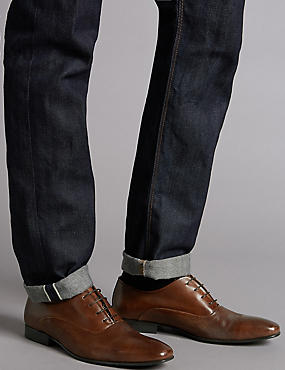 Leather Lace-up Derby Shoes, BROWN, catlanding