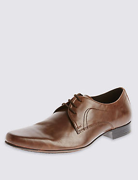 Leather Pointed Derby Lace-up Shoes