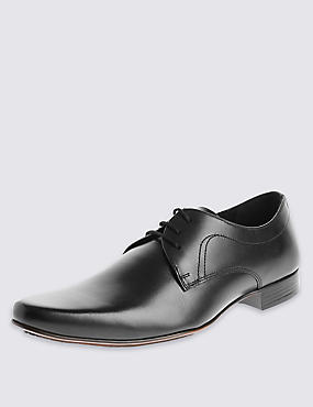 Leather Lace-Up Pointed Derby Shoes