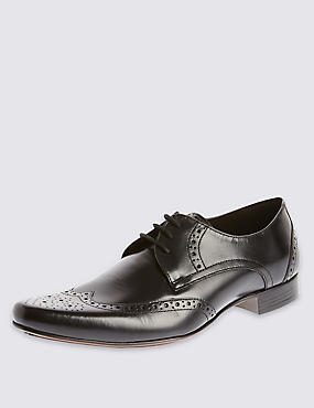Leather Pointed Brogue Shoes