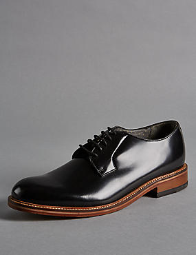 Leather Lace Up Chunky Derby Shoes
