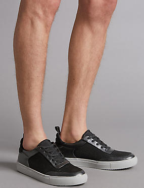 Smart Mesh Lace-up Trainers, BLACK MIX, catlanding