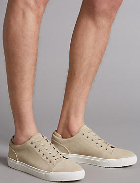 Suede Lace-up Trainers, LIGHT TAUPE, catlanding