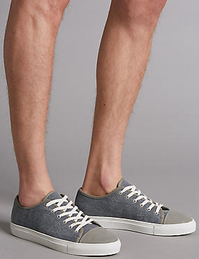 Marks and Spencer Big & Tall Canvas Lace-up Trainers chambray