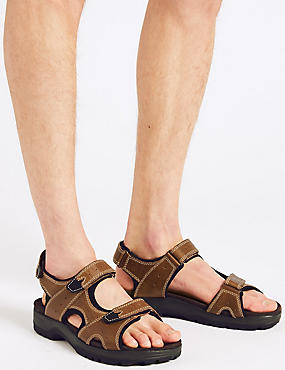 Big & Tall Leather Riptape Sandals, BROWN, catlanding