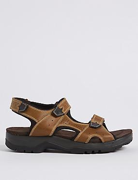 Big & Tall Leather Riptape Sandals, BROWN, catlanding