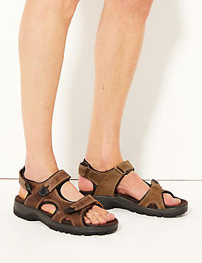 Leather Riptape Sandals, BROWN, catlanding