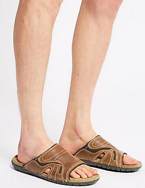 Leather Slip-on Sandals, BROWN, catlanding