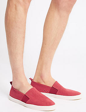 Canvas Slip-on Pump Shoes, CORAL, catlanding