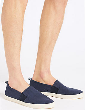 Canvas Slip-on Pump Shoes, NAVY, catlanding