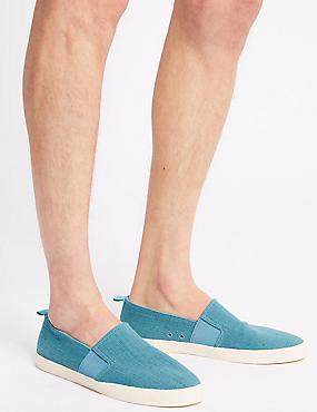 Canvas Slip-on Pump Shoes, TURQUOISE, catlanding