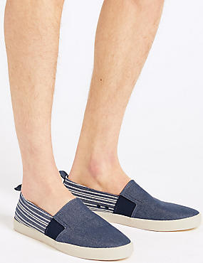 Striped Slip-on Pump Shoes, NAVY MIX, catlanding