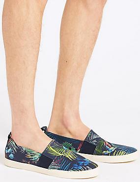 Printed Slip-on Pump Shoes, NAVY MIX, catlanding