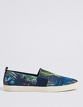 Printed Slip-on Pump Shoes, NAVY MIX, catlanding