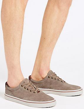 Suede Lace-up Pump Shoes, STONE, catlanding