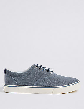 Canvas Lace-up Trainers, CHAMBRAY, catlanding