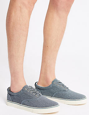 Extra Wide Fit Canvas Lace-up Pump Shoes, CHAMBRAY, catlanding
