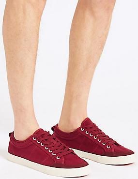 Canvas Lace-up Pump Shoes, DARK CRIMSON, catlanding