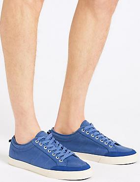 Canvas Lace-up Pump Shoes, AZURE BLUE, catlanding