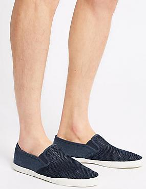 Canvas Slip-on Pump Shoes, NAVY, catlanding