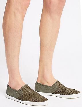 Canvas Slip-on Pump Shoes, KHAKI, catlanding