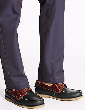Big & Tall Leather Lace-up Boat Shoes, NAVY, catlanding