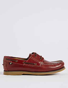 Big & Tall Leather Lace-up Boat Shoes