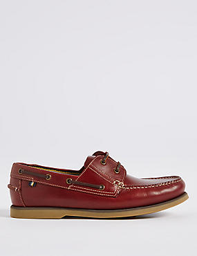 Extra Wide Fit Leather Lace-up Boat Shoes