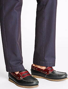 Leather Slip-on Boat Shoes, NAVY, catlanding