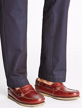 Leather Slip-on Boat Shoes, TAN, catlanding