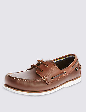 Leather Lace Up Boat Shoes