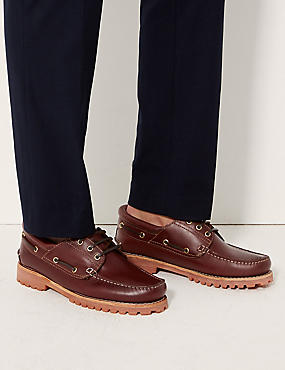 Leather Lace-up Boat Shoes, BROWN, catlanding