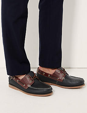 Extra Wide Fit Leather Lace-up Boat Shoes, NAVY MIX, catlanding