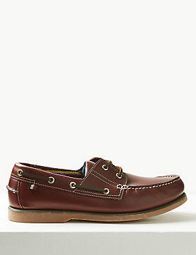 Big & Tall Leather Lace-up Boat Shoes, RICH BROWN, catlanding