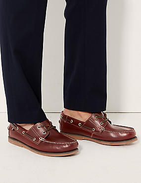 Leather Lace-up Boat Shoes with Freshfeet™, RICH BROWN, catlanding