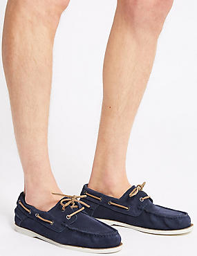 Suede Lace-up Boat Shoes with Freshfeet™, NAVY, catlanding
