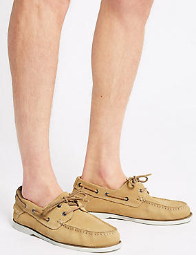 Suede Lace-up Boat Shoes with Freshfeet™, SAND, catlanding