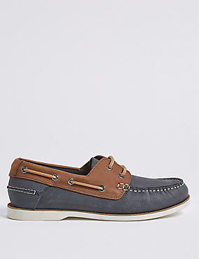 Suede Lace-up Boat Shoes with Freshfeet™, BLUE MIX, catlanding