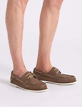 Marks and Spencer Suede Lace-up Boat Shoes with Freshfeet mink