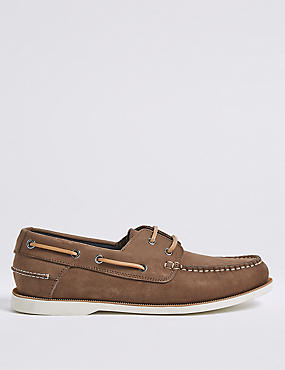 Suede Lace-up Boat Shoes with Freshfeet™, MINK, catlanding