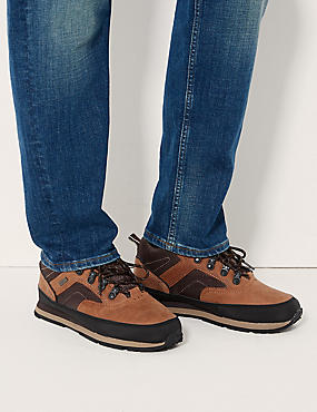 Leather Lace-up Walking Boots, BROWN MIX, catlanding