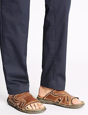 Leather Mule Slip-on Sandals, BROWN, catlanding