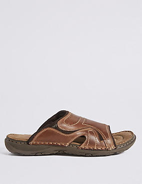 Leather Mule Pull-on Sandals