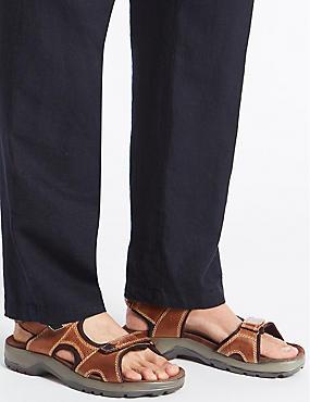 Leather Twin Strap Riptape Sandals, BROWN, catlanding